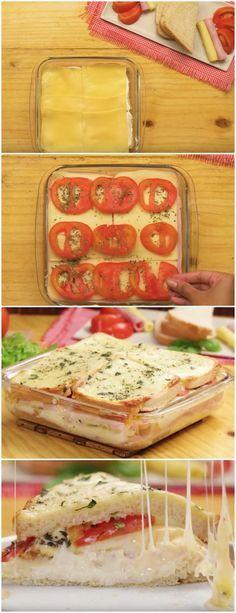SANDUÍCHE DE FORNO de 15 minutos ! #sanduíche #forno #gastronomia #comida #sobremesas #bolos #pães #receita #receitas