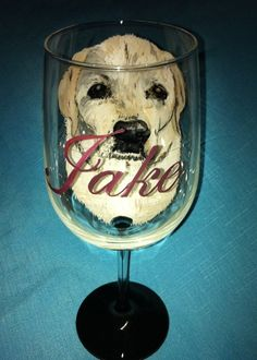 Yellow Lab Pet Portrait Wine Glass