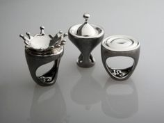 Luisa Bruni 06 | 485,00 € |  Luisa Bruni 07 and Luisa Bruni 08 | 410,00 € (each) (L-R) | Materials: Oxidized silver.