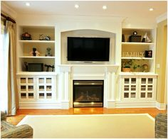what we should do to the MH house - move fireplace and add built-ins. what we should do to the MH house – move fireplace and add built-ins… Wall Units With Fireplace, Built In Around Fireplace, Tv Over Fireplace, Fireplace Bookshelves, Fireplace Built Ins, Bookshelves Built In, Fireplace Design, Bookcases, Fireplace Ideas