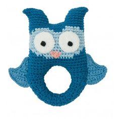 Hæklet Rangle - Owl Blue
