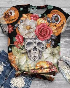 Women Plus Size Halloween Skull Flower Print Short Sleeve T-Shirts Halloween Skull, Halloween Dress, Halloween Outfits, Halloween Diy, Halloween Costumes, Pretty Shirts, Cute Tshirts, Blouses For Women, Sweaters For Women