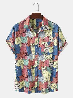 Description:Decoration:Pocket,ButtonFit Type:Regular FitMaterial:PolyesterNeckline:LapelPattern Type:Animal,CartoonScene:Leisure,Home,CasualSeason:SummerSize:XXL,L,S,XL,MSleeve:Short SleeveStyle:Casual,CartoonPackage Included:1*Shirt Pop Art Fashion, Fashion Line, Cool Outfits, Casual Outfits, Fashion Outfits, Outfits Hombre, Cat Colors, Textiles, Printed Shorts