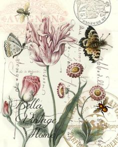 Tulips and Butterflies Print, Pillow, Note Cards, Tea Towel