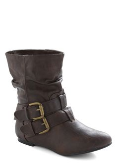 Spruce Up Your Style Boot - Brown, Solid, Buckles, Casual, Fall, Winter, Faux Leather, Flat