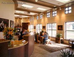 warm reception area - round desk
