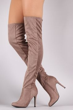 Anne Michelle Fitted Suede Stiletto Over-The-Knee Boots