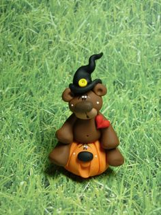 Polymer Clay Bear in Witch Hat  Figurine by ClayBabiesInc on Etsy