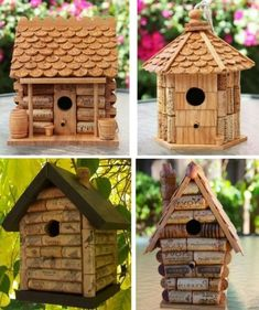 23 Clever DIY Christmas Decoration Ideas By Crafty Panda Homemade Bird Houses, Bird Houses Diy, Fairy Houses, Wine Cork Art, Wine Cork Crafts, Wine Bottle Crafts, Wine Cork Birdhouse, Wood Shop Projects, Recycled Crafts