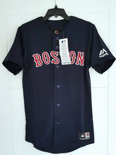 d5fc33d5da23 Majestic Boston Red Sox Official MLB Baseball Jersey Shirt Authentic Mens  XS for sale online