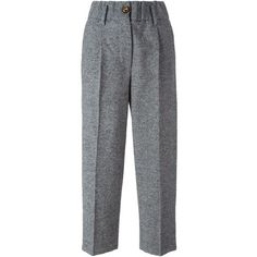 Forte Forte Cropped Trousers (13.690 RUB) ❤ liked on Polyvore featuring pants, capris, grey, forte forte, grey pants, cropped pants, wool blend pants and cropped capri pants