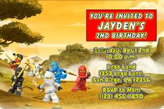 Lego invitations - Like this, but with a photo of Ayden's legos. Budget: $5.