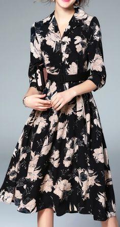 Black Beach Print Half Sleeve Tie Waist Lapel Dip Hem Midi Dress