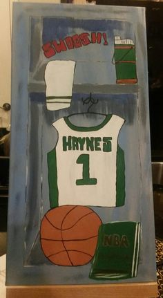 Hand painted wood framed canvas - custom order basketball locker by SimplyShanCreations on Etsy