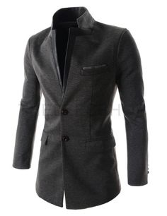 (DJC02-CHARCOAL) Mens Slim Fit China Collar Leather Patched Chest Pocket 2 Button Coat