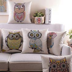 Children/'s Room Owl Cartoon Cute Lovely Les taies d/'oreiller coussin cas 18/'/'x18/'/'