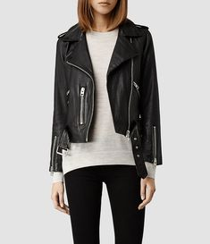 $540, Balfern Leather Biker Jacket by AllSaints. Sold by AllSaints. Click for more info: http://lookastic.com/women/shop_items/154050/redirect
