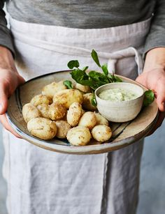 Salt-crusted Jersey Royals with watercress aioli