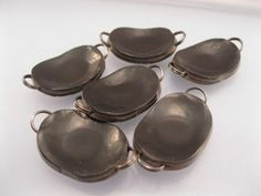 10 Muted Black & Bronze Polymer Clay small oval links by Artybecca