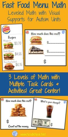 Looking for a perfect math center? This is it! These Leveled and highly engaging task cards are great for Early Elementary or Autism Units.