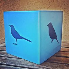 Bluebirds! Planter Upcycle with colors #LALA & #SUBMARINE along with our NEW Gloss Clear Coat and @stencil1 Custom Stencils  // #PlutoniumPaint #SprayPaint #UltraSupreme #EcoFriendly #MadeInTheUSA