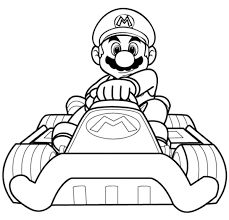 Mario Kart Driving Coloring Page Video Games Pages Boys Free Online And Printable