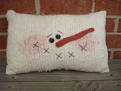 Chenille Snowman Pillow by AppleBerryCreations on Etsy, $14.99