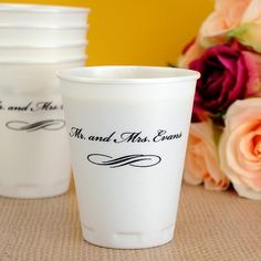 Made of a smooth, thin-wall foam, these 10 ounce insulated cups are perfect for serving hot coffee at your bridal shower brunch and cold punch at your wedding reception. With custom printing in your choice of imprint colors, these cups can be personalized to coordinate with your wedding theme.