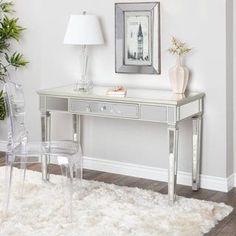 glam home accents Abbyson Omni Glam Mirrored Desk - Mirrored Furniture, Furniture Sale, Furniture Plans, Furniture Decor, Mirrored Desk, Living Room Furniture, Furniture Arrangement, Living Rooms, Rooms Home Decor