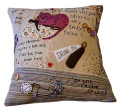 Alice in wonderland themed pillow cushion, patchwork fabrics with applique and hand embroidery. on Etsy, £76.34
