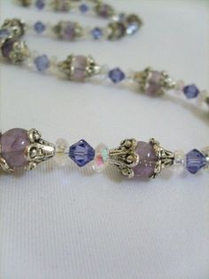 Lavender Swarovski Crystal and Glass Necklace - $14.95 - Handmade Jewelry, Crafts and Unique Gifts by My Chaos by Design #swarovski #swarovskijewelry #handmadejewelry #swarovskibracelet #giftsformom