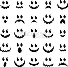 Vector Collection of Spooky Halloween Ghost and Pumpkin Faces vector art illustration Spooky Halloween, Halloween Geist, Halloween Wood Crafts, Ghost Crafts, Halloween Pumpkins, Halloween Goodies, Jack Skellington Pumpkin, Pumpkin Decorating Contest, Pumpkin Template