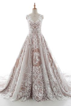 Charming A-Line V-Neck Natural Chapel Train Tulle Lace and Elastic Satin Sleeveless Zipper Wedding Dress with Appliques LD5190 #weddingdresses #customdresses #bridalgowns #cocomelody #dreamdresses