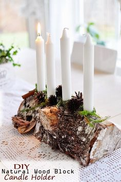 DIY Natural Wood Block Candle Holder – Cool Inspirational Christmas Craft Ideas - Bored Fast Food