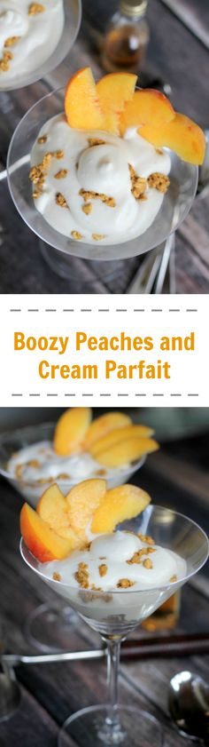 Boozy Peaches and Cream Parfait is the ideal indulgence after a meal, and with that kick of bourbon or whiskey - this is a great boozy dessert for adults.