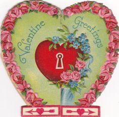 Vintage Die-Cut Valentine Greetings Card, heart w/ lock & little Cupid inside - SOLD