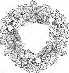 Венок из осенних листьев - razukrashki.com