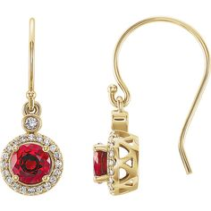 14K Yellow Chatham Lab Grown Ruby & 1/6 CTW Diamond  Halo-Style Earrings