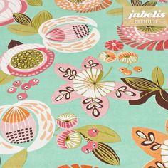 jubelis® Premium Wachstuch Tischdecken und Rollen extradick Nica mint florales Muster
