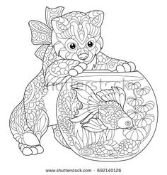 Coloring Page Of Kitten Wondering About Goldfish In Aquarium Freehand Sketch Drawing For Adult Antistress