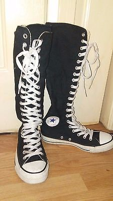 black with white shoelaces kneehigh converse allstar shoes