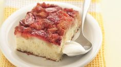 Strawberry-Rhubarb Upside-Down Cake recipe and reviews - Here's a fresh fruit dessert made with cake mix that you can serve warm for an easy weeknight treat.