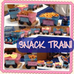 """SNACK TRAIN! Letter Carrier (ABC Cheezits), Log Car (pretzel sticks), Coal Hopper (raisins), Smokestack Puffs (Pirate's Bootie popcorn), Fish Freight (goldfish crackers), Queso Qaboose (cheddar cubes) - chalk ink pen on black paper for wheels - Thomas Trains for front engine - For a """"Trains & Tiaras Double Birthday"""" boy girl birthday party - Happy birthday, Johnny & Jayleen!!"""