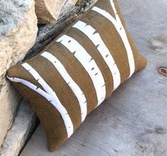 Birch Trees Appliqued on Brown Burlap Pillow on Etsy, 27,40€