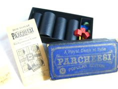 Too cool --- This game is almost 100 years old!!!  Vintage Parcheesi Set Includes ALL Original Pieces and Pamphlet Game of India #parcheesi #backgammon #india