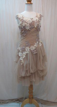 Tulle Slant Asymmetrical Dress. $178.00, Custom Made by madabby on Etsy.