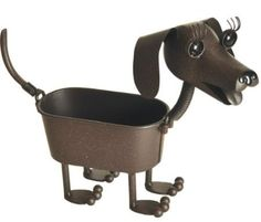 """Small Heidi Dachshund - Dog indoor or outdoor (garden) décor plant stands. Holds 4"""" grower pot - 9"""" inches tall"""