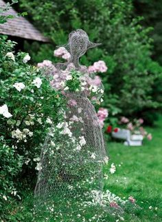 Recycling- Chicken wire can be formed and shaped to create unique garden art that doubles as a trellis