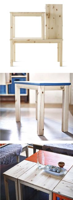 The NORNÄS collection is made from untreated, solid pine. DIY by painting, oiling or staining a coffee table,  to create something that is as unique as you are.