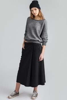 Pivot Skirt by Canadian eco-friendly fashion label Pillar. Midi length skirt with fold over front, available in black. Ethically made in Vancouver, Canada. Midi Length Skirts, Midi Skirt, Eco Friendly Fashion, Skirts With Pockets, Fashion Labels, French Terry, Elastic Waist, Kicks, Normcore